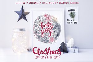 Holly Jolly, lettering & florals