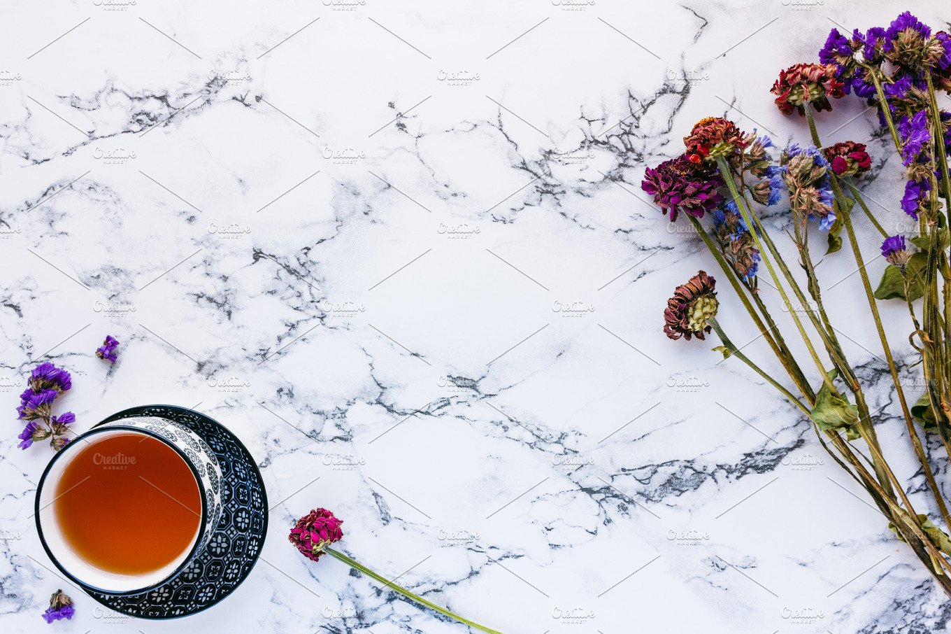 Tea And Flowers On White Marble Food Images Creative Market