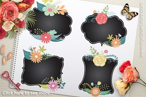 Floral Chalk Frames Clipart