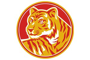 Tiger Prowling Head Circle Retro