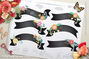 Floral Chalk Ribbons Clipart