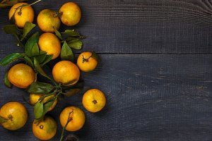Mandarins on the wooden table