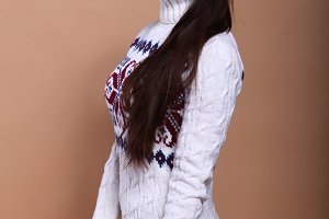 Girl in warm winter sweater