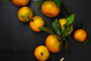Mandarines on the black table