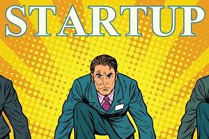 Startup retro businessman