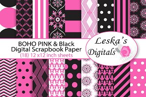 Pink and Black Digital Paper - Boho