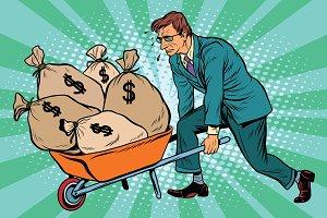 heavy garden cart with money