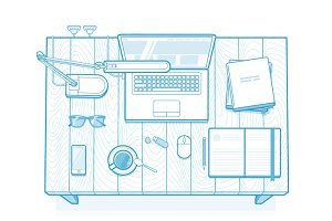 Vector Illustration of work desk