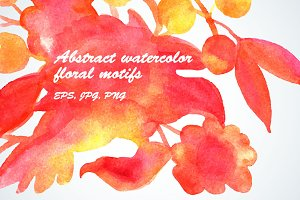 Abstract watercolor floral motifs