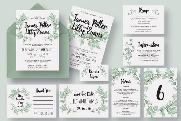 Tremendous Eucalyptus Collection Invitation Templates Creative Market