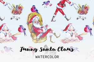 Watercolor Santa Claus