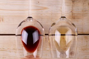 Wine glasses on wood