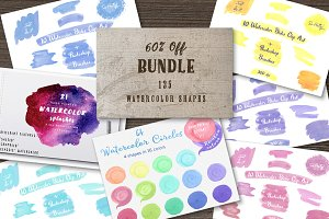 Watercolor shapes bundle
