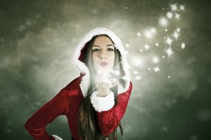 girl kissing christmas fantasy