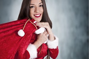 santa claus girl isolated