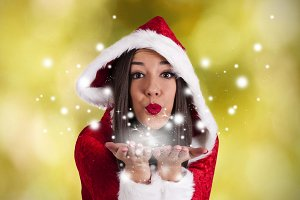 attractive girl with santa claus suit