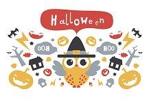 Halloween design with owl