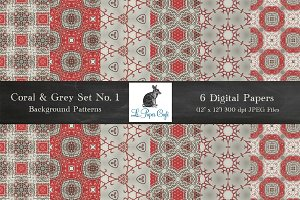 Coral & Grey Hippie Patterns