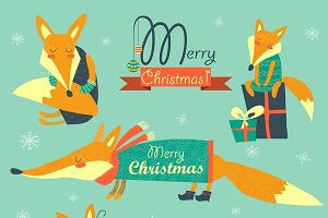 Set of foxes celebrating Christmas