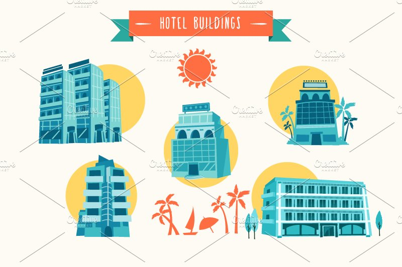 Vector Hotel Buildings Illustrations Creative Market