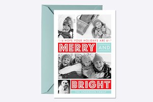 Merry & Bright Holiday Card Template