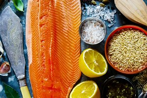 Salmon fillet and ingredients