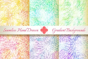6 Seamless Gradient Florals. Set#6