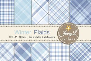 Winter Snow Plaid Digital Papers