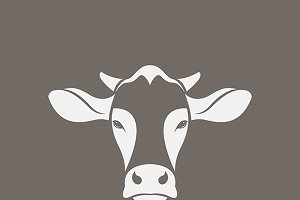 Vector image of a cow head design.