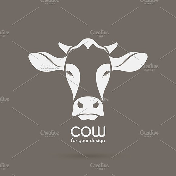 Vector image of a cow head design. in Graphics