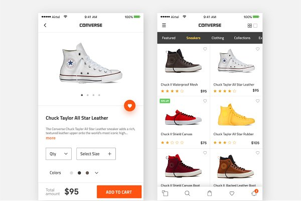 OpenCart Themes - Converse product page model-sketch