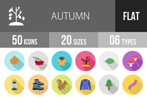 50 Autumn Flat Shadowed Icons