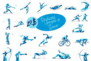 Set of stylized people in sport