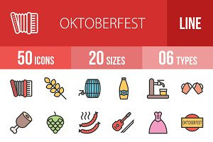 50 Oktoberfest Line Filled Icons