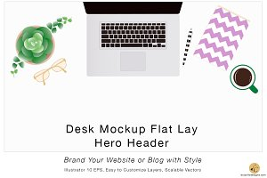 Desk Mockup Flat Lay Hero Header