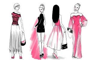 Girls in evening dress