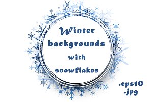 Winter templates with snowflakes