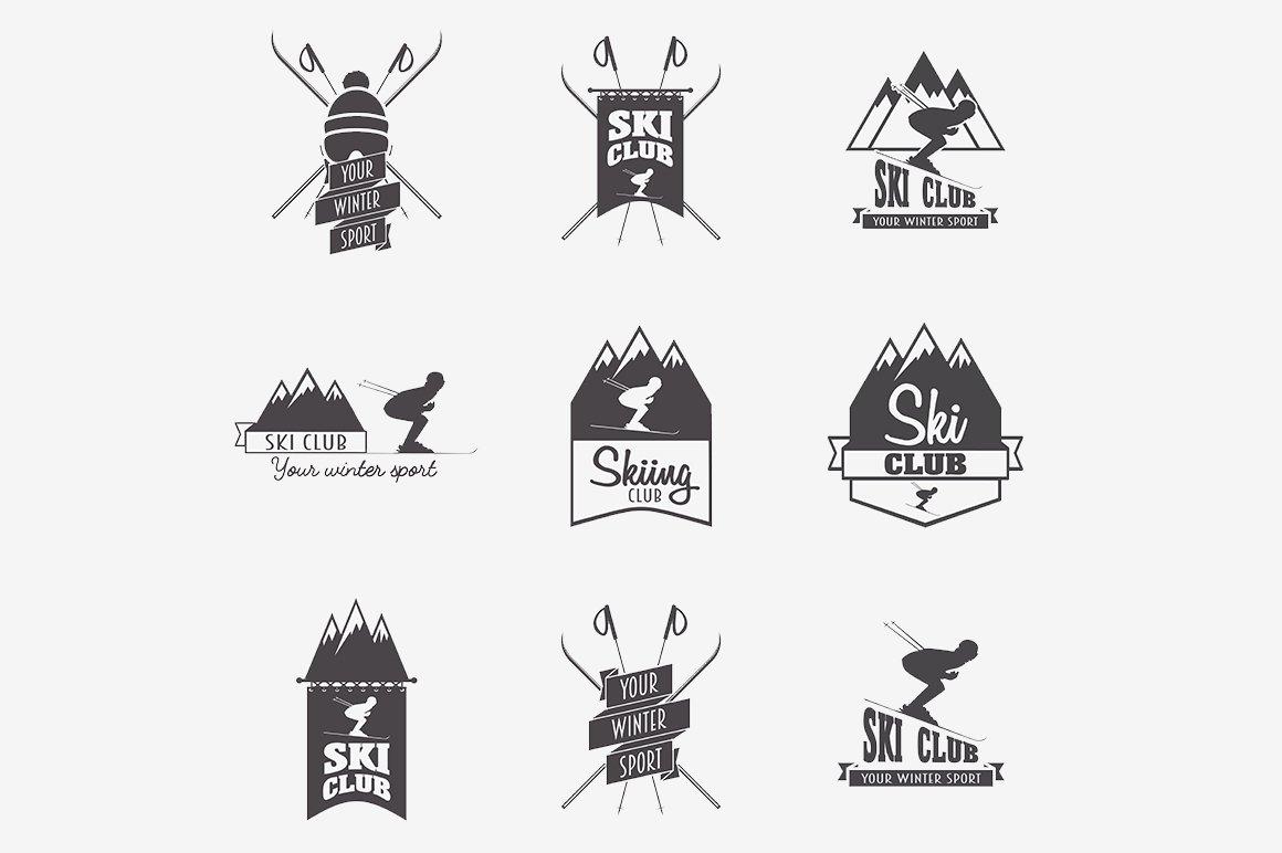 Set of ski club logo templates ~ Logo Templates ~ Creative ...