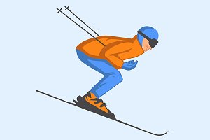 Skier speeding down slope