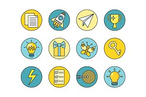 Idea Generation Round Icon Set