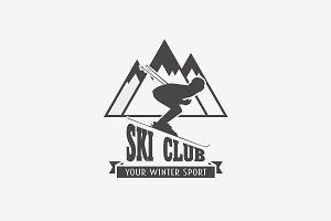 Ski club and snowboarding logo