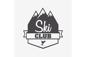 Symbol or label template of ski club