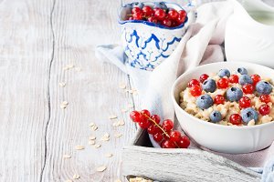 Healthy breakfast with porridge