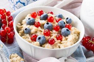 Healthy breakfast with porridge