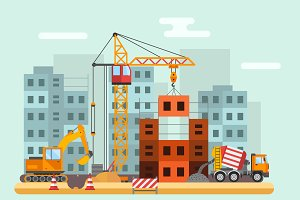 Building under construction vector