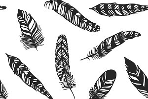 Boho feather hand drawn pattern