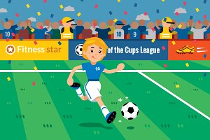 Soccer Girl Illustration Clipart