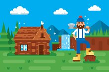 Woodcutter illustration Clipart
