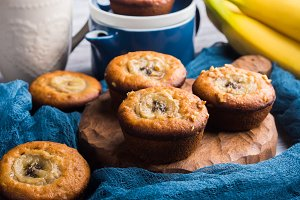 Home made banana muffins on serving board