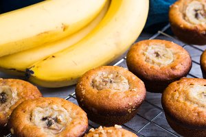 Home made banana muffins on grill